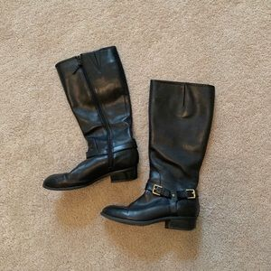 Ralph Lauren Leather Riding Boot Tall Buckle Black